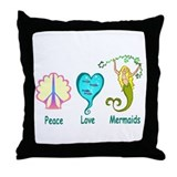 Peace,Luv, Mermaids Throw Pillow