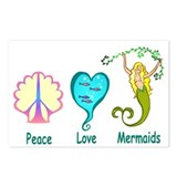 Peace,Luv, Mermaids Postcards (Package of 8)