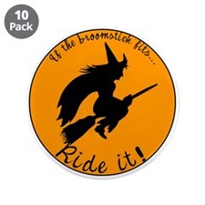 "Halloween Witch Broom 3.5"" Button (10 pack)"