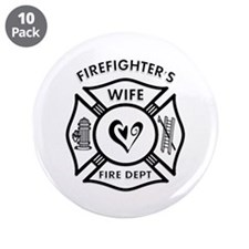 "Firefighters Wife 3.5"" Button (10 pack)"