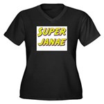 Super janae Women's Plus Size V-Neck Dark T-Shirt