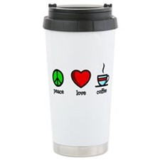 Peace, Love and Coffee Ceramic Travel Mug