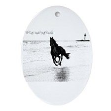 Wild Horse & Lighthouse Oval Ornament