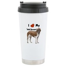 I Love My Saint Bernard Ceramic Travel Mug