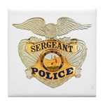 Police Sergeant Badge Tile Coaster