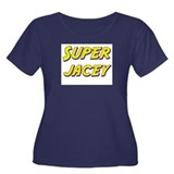 Super jacey Women's Plus Size Scoop Neck Dark T-Sh