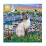 Lilies(JF)/Siamese Cat 24 ( Tile Coaster