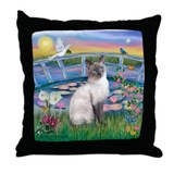 Lilies(JF)/Siamese Cat 24 ( Throw Pillow