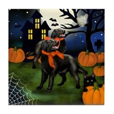 FLAT COATED RETRIEVER DOG HALLOWEEN Tile Coaster