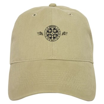 Cap in khaki or white with St. Benedict Medal