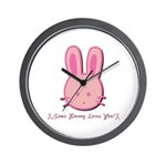 Breast Cancer Bunny Wall Clock