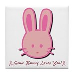 Breast Cancer Bunny Tile Coaster