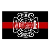 Firefighter Thin Red Line Rectangle Stickers
