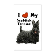 I Love My Scottish Terrier Rectangle Decal