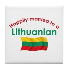 Happily Married Lithuanian 2 Tile Coaster