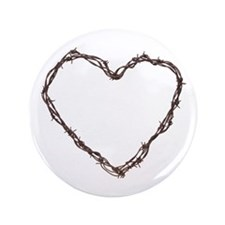 "Barbed Wired Heart 3.5"" Button"