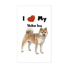 I Love My Shiba Inu Rectangle Decal
