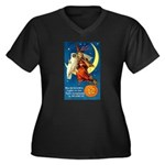 Owl and Witch Women's Plus Size V-Neck Dark T-Shir