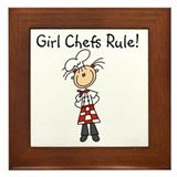 Girl Chefs Rule Framed Tile