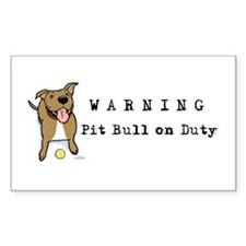 Cute Pit Bull Warning Decal