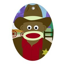 Sock Monkey Cowboy Oval Ornament