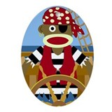 Sock Monkey Pirate Oval Ornament