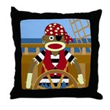 Sock Monkey Pirate Throw Pillow