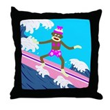 Sock Monkey Surfer Girl Throw Pillow