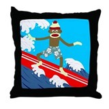 Sock Monkey Surfer Throw Pillow
