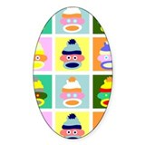 Pop Art Sock Monkey Oval Decal