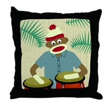 Sock Monkey Conga Drums Throw Pillow