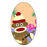 Sock Monkey Ukulele Oval Decal