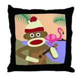 Sock Monkey Ukulele Throw Pillow