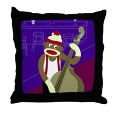 Sock Monkey Jazz Bass Throw Pillow