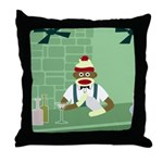 Sock Monkey Martini Bartender Throw Pillow