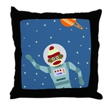 Sock Monkey Astronaut Throw Pillow