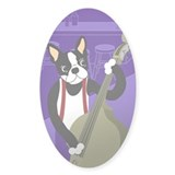 Boston Terrier Jazz Bass Oval Decal