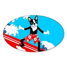 Boston Terrier Surfer Oval Decal