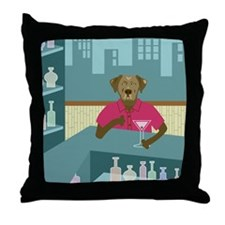 Chocolate Lab Martini Throw Pillow