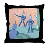 Robot Cocktail Party Throw Pillow