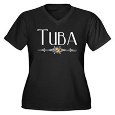 Tuba Women's Plus Size V-Neck Dark T-Shirt