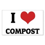 I Love Compost Rectangle Decal