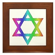 Gay Pride Star of David Framed Tile