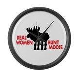 Real Women Hunt Moose Large Wall Clock