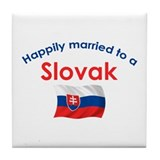 Happily Married Slovak 2 Tile Coaster