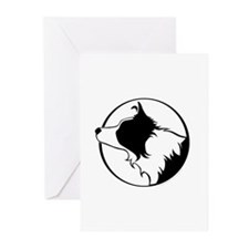 Border Collie Head B&W Greeting Cards (Pk of 20)