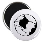 Border Collie Head B&W Magnet
