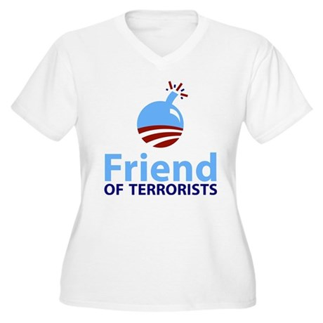 Obama Friend of Terrorists Women's Plus Size V-Nec