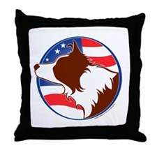 Border Collie R&W Flag Throw Pillow
