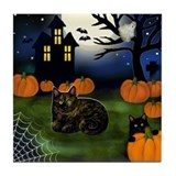 TORTOISESHELL CAT HALLOWEEN NIGHT Tile Coaster